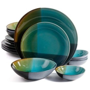 Gibson Elite 16pc Quadrangle Stoneware Dinnerware Set