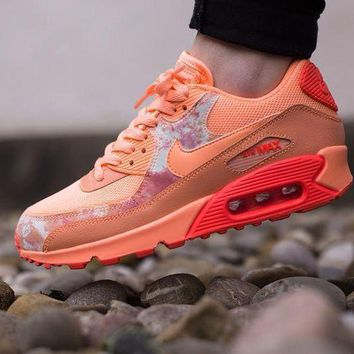 PEAPNW6 Sale Nike Air Max WMNS 90 Print Sunset Glow Hot Lava Running Shoes Sport Shoes 724980-800