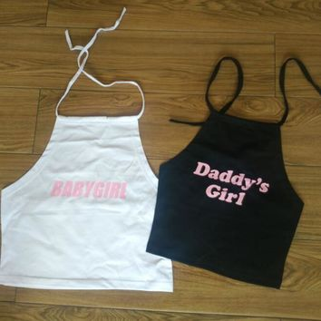Daddy Baby Girl Halter Black White Crop Top Women Large Plus 2XL Strap Camis Backles Vest Tank Camisole Bralette Female Summer