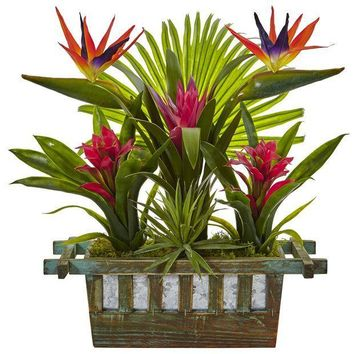 MDIGMS9 Birds of Paradise and Bromeliad in Planter