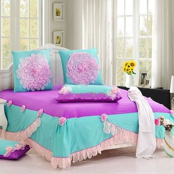 Romantic Pink Lace Flowers Princess Cotton Luxury 6-piece Bedding Sets/Duvet Cover