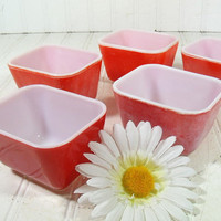 Pyrex OvenWare Fridge Bowls Set of 5 - Vintage Mid Century Kitchen Collections - Primary Color Red in Various Stages of Shabby Chic
