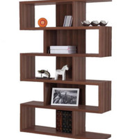 Modern Bookcase With Five Shelves Home Office Furniture Matte Walnut Finish New