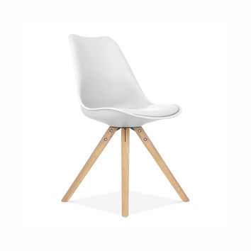 Viborg Mid Century White Side Chair with Natural Wood Base (Set of 2)