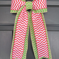 Christmas Red White over Green Chevron Bow, Candy Cane Noel, Winter Wreath Change Out, Floral Holiday