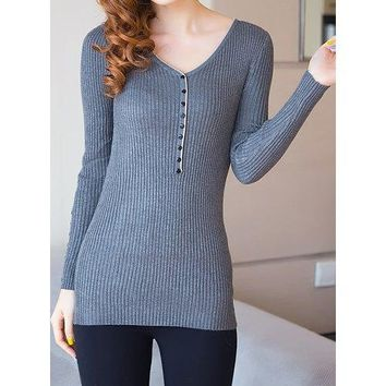 Casual V-Neck Long Sleeve Button Design Slimming Women's Knitwear