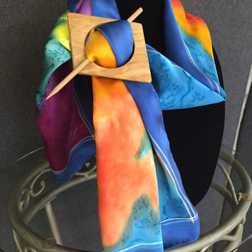 Swirl, Hand Painted Silk Scarf