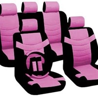 "14 Piece Luxury Two Tone PU Synthetic Leather Universal Seat Cover Set Accent ""Superior"" 2 Front Bucket Seats - Bench - 5pc Headrest Cover - Steering Wheel - Seat Belt Pads (Atomic Pink)"