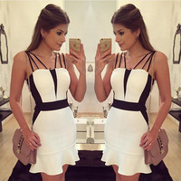 Sexy Spaghetti Strap Backless Bodycon Short Dress