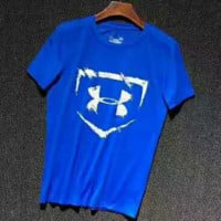 Under Armour Print Big Logo Short Sleeve Casual Sport Tee Top G-YF-MLBKS