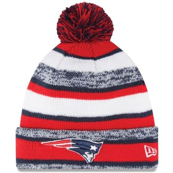 Mens New England Patriots New Era Red On-Field Sport Sideline Cuffed Knit Hat