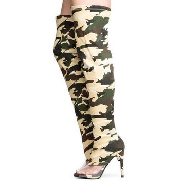 Cape Robbin Lola 15 Women's Camo Thigh High Boots