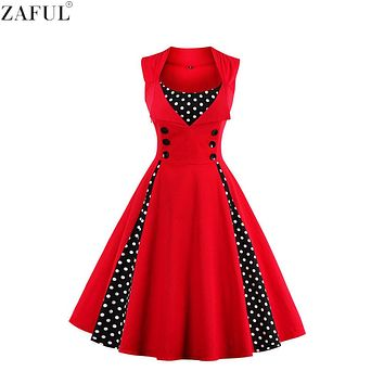 ZAFUL Summer Women Dress Retro Vintage 50 60s Polka Dots Pinup Rockabilly Hepburn Party Dresses Tunic Plus Size Vestidos Mujer
