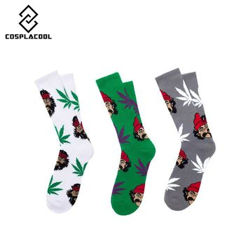 [COSPLACOOL] Maple Leaf Socks Weed Socks Unisex comedy cheech&chong portrait Socks Long Skateboard Hip-hop Socks