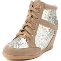 Glitter Lace-Up Wedge Sneaker: Charlotte Russe