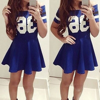 """36"" Printed Blue Skater Dress"