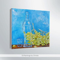 GRAPES PAINTING, miniature, oil painting, bottle, gifts for her, wall decor, bottle painting, greece, blue, green, art, gifts for him