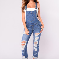 I Got The Moves Jumpsuit - Medium Wash