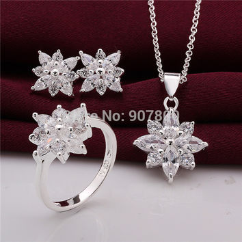 S747 Pretty Jewelry Set silver plated Flower Necklace & Earrings & Ring with Zircon fashion design wedding gifts