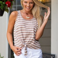Count On Me Tie Front Top : Mocha/Ivory