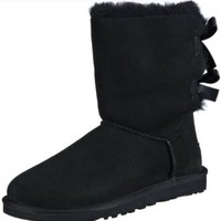 UGG Australia Women's Bailey Bow Sheepskin Fashion Boot Black 6 M US