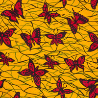 African print fabric sold by yard/ Ankara fabric/ African Fabric Shop/ African Supplies for dress skirt headtie/ Yellow Red African fabric
