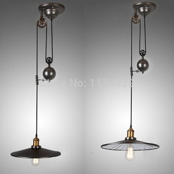 Nordic Loft Retro Industrial Pendant Lights Restaurant/Bar Lighting Rustic Style Pulley Lamps Vintage Edison Pendant Lamp E27