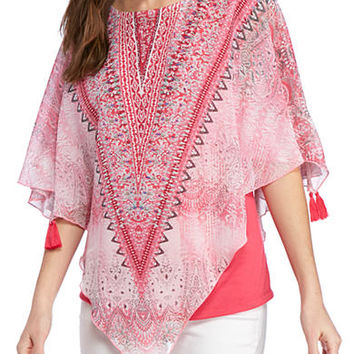 New Directions® Scarf Print Poncho