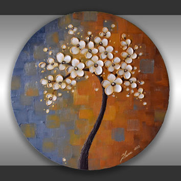 "Original Contemporary Art Palette Knife Impasto Texture Cherry Blossom Tree Painting  Abstract  Landscape Ready to Hang 20"" Round Canvas"