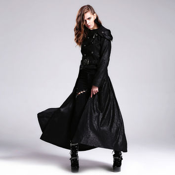 Devil Fashion Punk Womens Detachable Long Coat Gothic Two Way Short Coat Casual Trench Maxi Coat