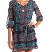 Tile Print Belted Chiffon Shift Dress by Charlotte Russe - Multi