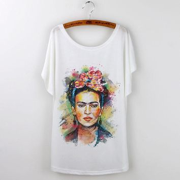Frida Kahlo Print Summer Casual T-Shirt women's rights