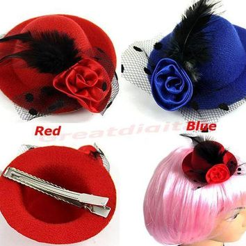 PEAP78W 2PCS Girls Stage Show Hair Clips Lady Feather Rose Mini Top Hat Fascinator Party Costume Fashion Hair Accessories