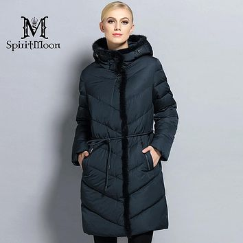SpiritMoon 2017 Winter Women Thick Coat Female Coat Bio Down Jacket Hooded Thick Parka With Natural Mink Fur Plus Size 5XL 10XL