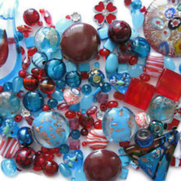 150+ Pc Assorted Red Blue Beads Pendants Charms Christmas Winter Jewelry Crafts