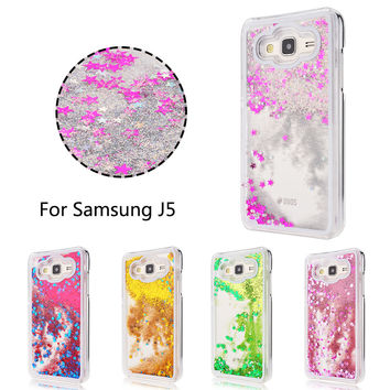 For Samsung Galaxy J5 Fashion Flow Dynamic Liquid Glitter meteor sand sequins Colorful Dynamic Transparent Hard Phone cases
