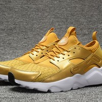 Best Online Sale Nike Air Huarache 4 Run Rainbow Ultra Breathe Women Men Gold White Running Sport Casual Shoes Sneakers - 927