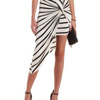 & Striped Asymmetrical Skirt by Charlotte Russe