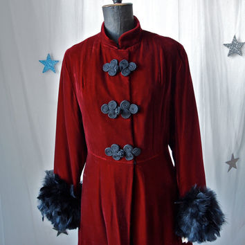 Long Vintage Coat Garnet Red Velvet Russian Style Princess Sgt. Pepper Formal Coat Black Trim Feather Cuffs Fully Lined