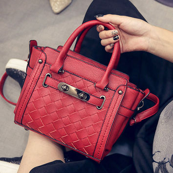 Autumn Fashion Stylish Lock One Shoulder Bags Tote Bag [6583221447]