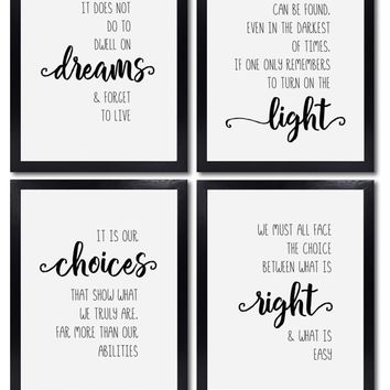Harry Potter Wall Decor - Set of 4 Unframed 8x10 Metallic Pearl Art Prints - Dumbledore Quotes and Sayings Themed Art Gift for Home, Bathroom, Bedroom, Kids, Baby