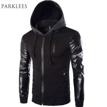 Cool Hooded Jacket Men 2017 Leather Sleeve Splice Bomber Jacket