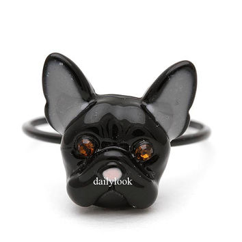 bulldog ring, french bulldog ring, french bulldog, dog ring, puppy ring, cute ring, animal ring, girls ring, unique ring, black, black dog