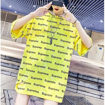 Supreme Fashion New Summer More Letter Print Hole Loose Women Top T-Shirt Yellow