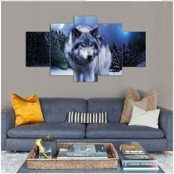 No Framed 5 Pieces Canvas Painting Print A Wolf  Under The Night Space Wall Art Home Office Artwork Decor for Living Room Bedroo
