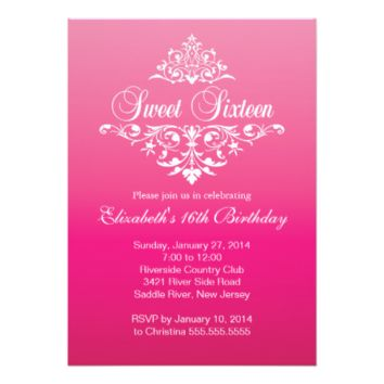 Modern Fancy Hot Pink Sweet Sixteen Birthday Party 5x7 Paper Invitation Card