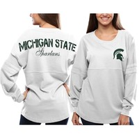 Michigan State Spartans Women's White Pom Pom Jersey Oversized Long Sleeve T-Shirt