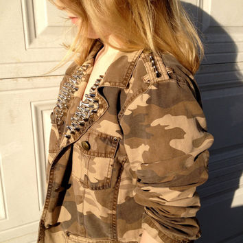 Camo 150 - 160 Studs  Spikes Studded Spiked Jacket Distressed Army Country Cowgirl Punk Rocker Grunge