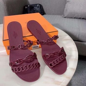 Hermes Solid Color Sandal Created #1847