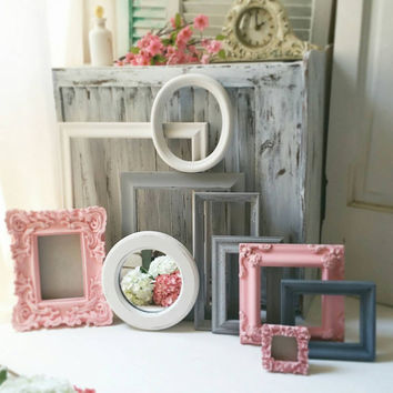 Coral and Gray Vintage Frames, Shabby Chic Ornate White and Coral Frame Set, Picture Frames, Nursery Frames, Oval Frame, Frame Gallery https
